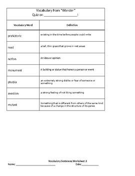 Wonder Vocabulary Packet 3