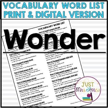 Wonder Vocabulary Word List