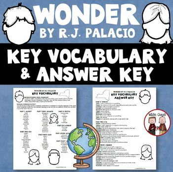 Wonder Novel Study Vocabulary Words and Definitions Activity