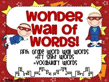 Wonder Wall of 5th Grade Words {Superhero themed word wall}