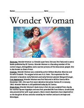 Wonder Woman - Super Hero review article lesson facts information questions
