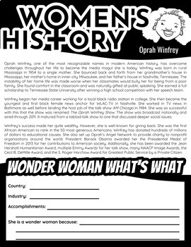Women's History Month Reading Passages and Response Bundle