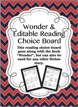 Wonder and Editable Reading Choice Board