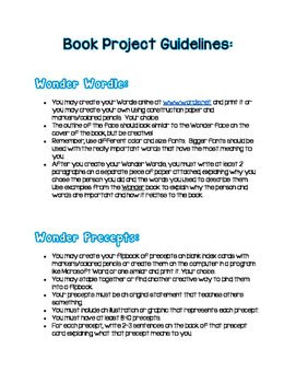 Wonder by R.J. Palacio - Book Project