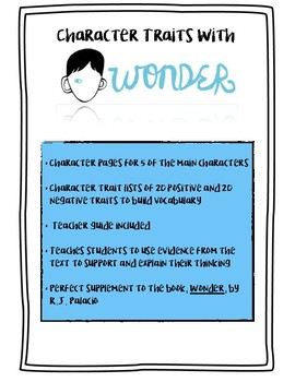 Wonder by R.J. Palacio - Character Traits and Character Actions and Motivations