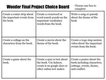 Wonder by R. J. Palacio Choice Board Final Project