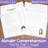 Wonder Comprehension Test for Part 1 August