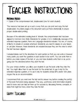 Wonder Comprehension Test for Part 2: Via & Part 3: Summer | Wonder Novel Study