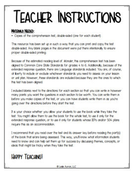 Wonder Comprehension Test for Part 2 Via and Part 3 Summer