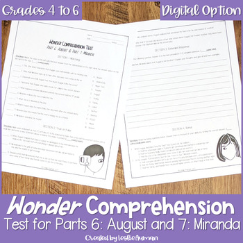Wonder Comprehension Test for Part 6: August & Part 7: Miranda | Wonder Novel
