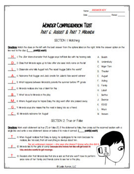 Wonder Comprehension Test for Part 6 August and Part 7 Miranda