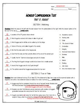Wonder Comprehension Test for Part 8: August   Wonder Novel Study