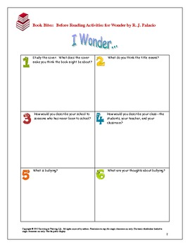 Wonder Novel Study Mini-Unit  (English and Spanish Activities)