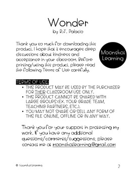 Wonder by R.J. Palacio FRENCH Novel Study Unit