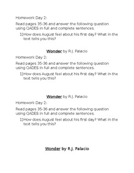 Wonder by R.J. Palacio Lesson Assignments