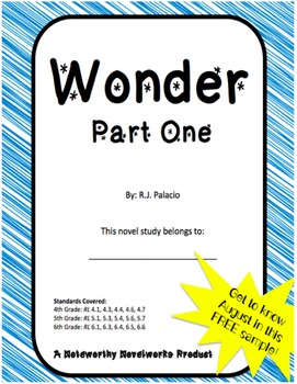 Wonder by R.J. Palacio - Part One Novel Study Freebie!