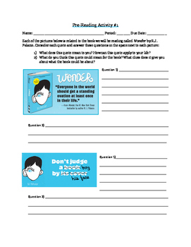 Wonder by R.J. Palacio Pre-Reading Activities