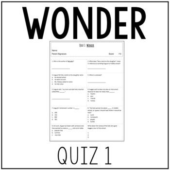 Wonder by R.J. Palacio Quiz 1 (Pages 3-53)