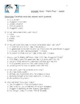 Wonder by R.J. Palacio Quiz - Part 5 - Justin - Novel Unit