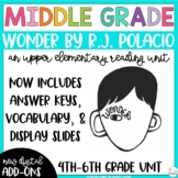 Wonder by R.J. Palacio Reading Unit {4th, 5th, and 6th Grade CCSS Aligned)