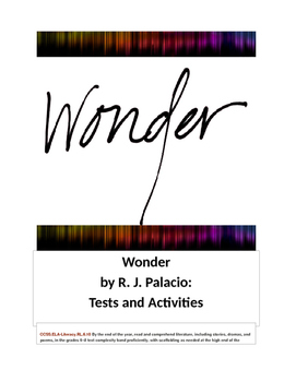 Wonder by R.J. Palacio Tests and Activities
