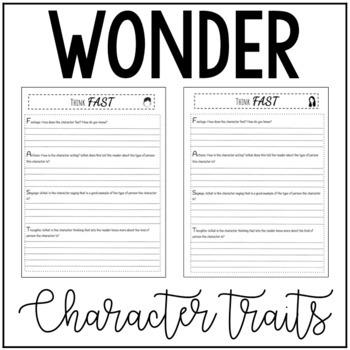 Wonder by R.J. Palacio Think FAST (Teaching Character Traits)