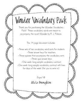 Wonder by R. J. Palacio - Vocabulary Pack