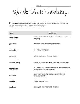 Wonder by R. J. Palacio - Vocabulary and Practice - 10 Terms