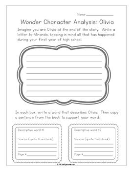 Wonder by R.J. Palacio:  10 Character Analysis Activities