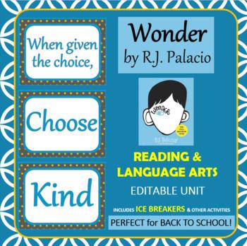 Wonder by RJ Palacio: Book Study, Reading & Language Arts Unit