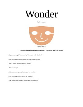 Wonder, by R.J. Palacio Book Unit