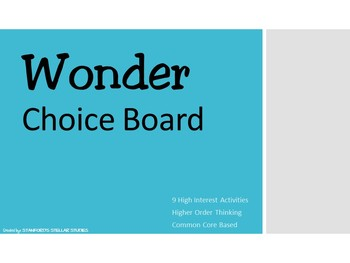 Wonder by RJ Palacio Choice Board Tic Tac Toe Novel Activities Assessment