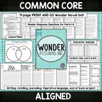 Wonder by RJ Palacio Novel Study Unit