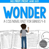 Wonder by RJ Palacio Novel Unit BUNDLE Common Core Aligned