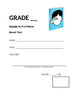 Wonder (by RJ Palacio) Novel Unit Test