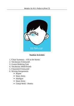 Wonder by R.J. Palacio (Part 2) - Ten Active Learning Activities