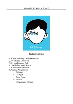 Wonder by R.J. Palacio (Part 3) - Ten Active Learning Activities