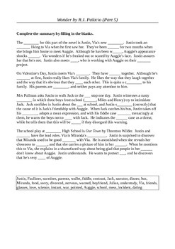 Wonder by R.J. Palacio (Part 5) - End of Unit Activities