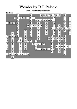 Wonder by R.J. Palacio (Part 7) - Vocabulary Crossword