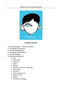 Wonder by R.J. Palacio (Part 8) - Student Activity Bundle