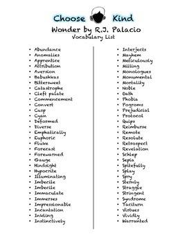Wonder by R.J. Palacio Vocabulary and Context Clues