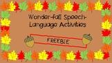 Wonder-fall Speech-Language Activities