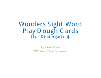 Wonder kindergarten sight word play dough cards