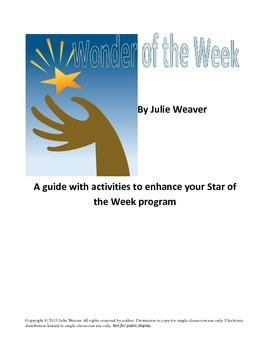 Wonder or Star of the Week Activities and Queston Cards