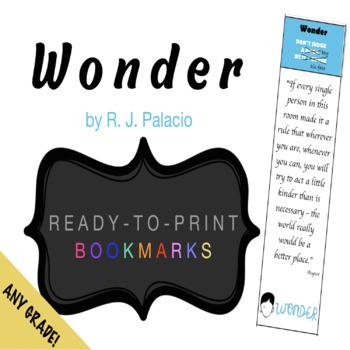 Wonder (ready to print) BOOKMARKS!