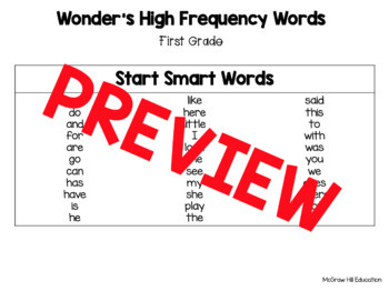 Wonder's First Grade High Frequency Word List McGraw Hill