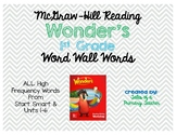 Wonder's First Grade High Frequency Words for Word Wall or Flash Cards