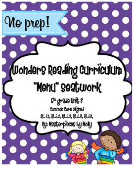 Wonder's Reading Curriculum Unit 3 Seat work