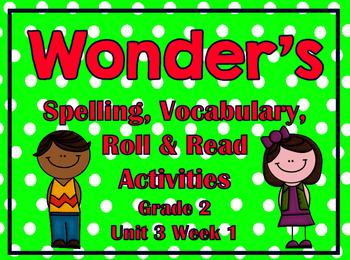 Wonder's Spelling, Vocabulary, Roll & Read Activities Grade 2