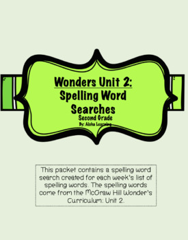 Wonder's Unit 2: Spelling Word Searches